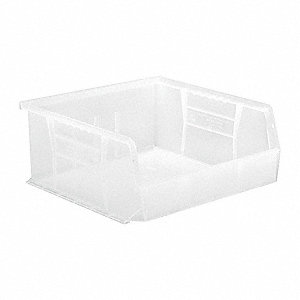 "Hang and Stack Bin, Clear, 10-7/8"" Outside Length, 11"" Outside Width, 5"" Outside Height"