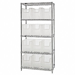 "36"" x 18"" x 74"" Bin Shelving with 800 lb. Load Capacity, Chrome Shelving Unit, Clear Bins"