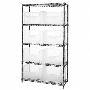 "42"" x 18"" x 74"" Bin Shelving with 800 lb. Load Capacity, Chrome Shelving Unit, Clear Bins"