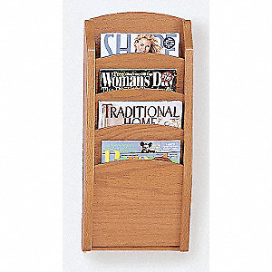 Literature Rack,4 Pocket,Medium Finish