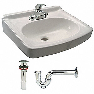 "Brass Wall Lavatory Sink With Faucet, 16-1/2"" Bowl Size"