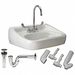 "Vitreous China Wall Bathroom Sink Kit With Faucet, 16-1/2"" x 10-1/4"" Bowl Size"