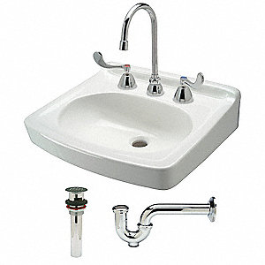 Zurn Bathroom Sinks zurn industries bathroom sink kit,wal,white,19-1/2 in. l - 10j136