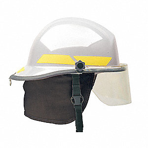 HELMET FIREFIGHTER WHITE W/4IN VISO