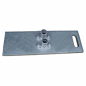 Guardrail System Base,  Steel,  30 in Length,  10 in Width,  5 in Overall Height,  Silver