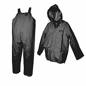 Men's Black 0.35mm PVC/Polyester/PVC 3-Piece Rainsuit with Detachable Hood, Size: XL, Fits Chest Siz