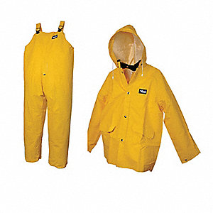 3-Piece Rain Suit with Jacket/Bib Overall, ANSI Class: Unrated, M, Yellow, High Visibility: No