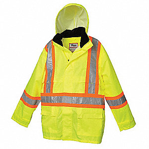 Hi-Visibility Green 150 Denier Polyester with Polyurethane backing Hi-Visibility Rain Jacket, Size L