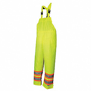 Hi-Vis Bib Pant,Waterproof,Green,L