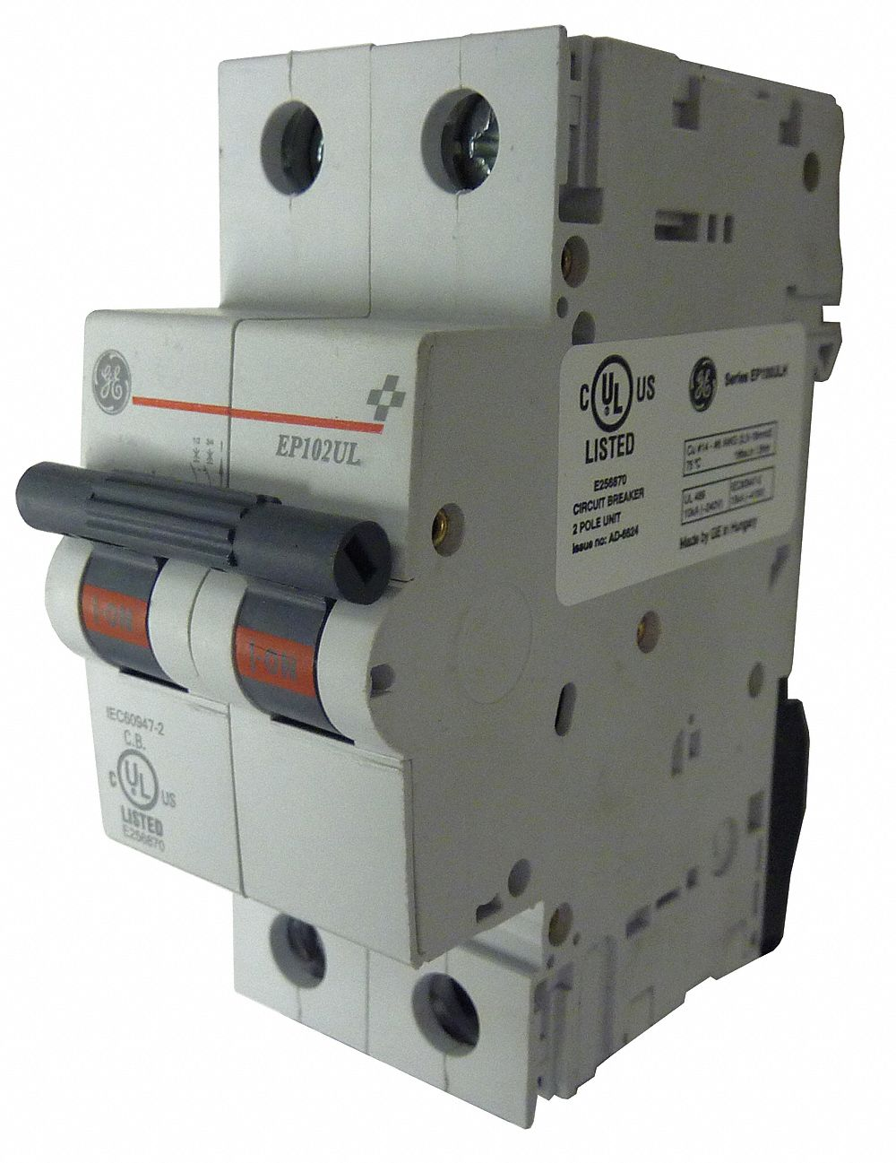277//480VAC AC Voltage 6 Amp 2-Pole IEC Supplementary Protector GE EP62ULD06