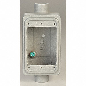 Weatherproof Electrical Box, 1-Gang, 2-Inlet, Malleable Iron