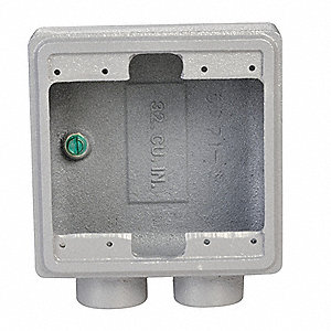 Weatherproof Electrical Box, 2-Gang, 2-Inlet, Malleable Iron