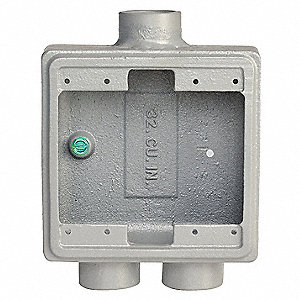 Weatherproof Electrical Box, 2-Gang, 3-Inlet, Malleable Iron