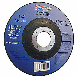 "6"" Type 27 Aluminum Oxide Depressed Center Wheels, 7/8"" Arbor, 1/4""-Thick, 10,200 Max. RPM"