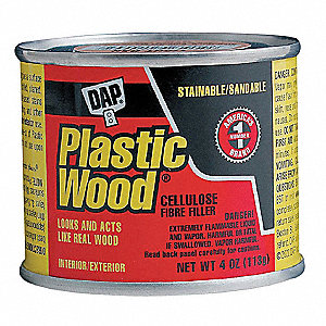 Solvent Wood Filler, 4 oz. Size, Walnut Color, Container Type: Can