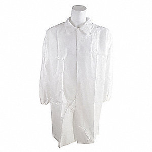 COAT LAB POLYPROP EL CUFF WHITE L