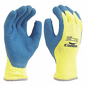GLOVES KNIT LATEX HI-VIS YELLOW 8