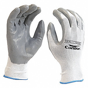 GLOVES NYLON KNIT NITRILE WHT/GRY 7