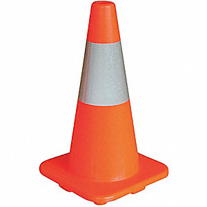 CONE TRAFFIC PVC W/REFLECT 18 IN