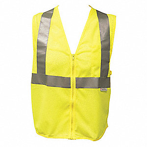 VEST TRAFFIC MESH ZIPPER YELLOW S