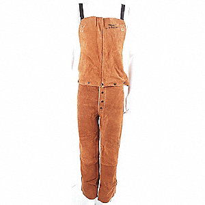 OVERALLS BIB WELD LEATHER BROWN L