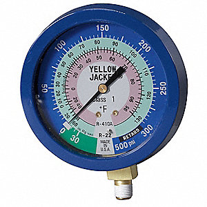 Gauge,3 1/8In Dia,Low Side,Blue,350 psi