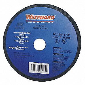 "4"" Type 1 Aluminum Oxide Abrasive Cut-Off Wheel, 5/8"" Arbor, 0.045""-Thick, 15,300 Max. RPM"
