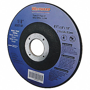 "4-1/2"" Type 27 Aluminum Oxide Depressed Center Wheels, 7/8"" Arbor, 1/8""-Thick, 13,300 Max. RPM"