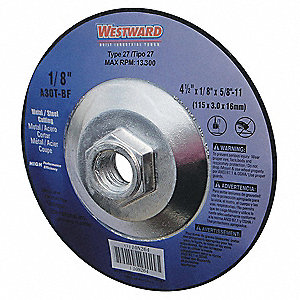 "5"" Type 27 Zirconia Alumina Depressed Center Wheels, 5/8""-11 Arbor, 1/8""-Thick, 12,200 Max. RPM"
