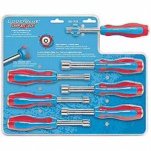 "7-1/2"" Nut Driver Set, Red/Blue&#x3b; Number of Pieces: 7"