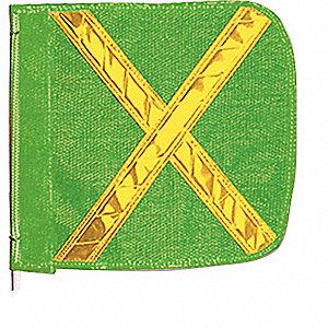 FLAG GRN W/WHT REFL-X 16X16IN