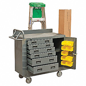 BENCH MOBILE 60IN W/DRAWERS