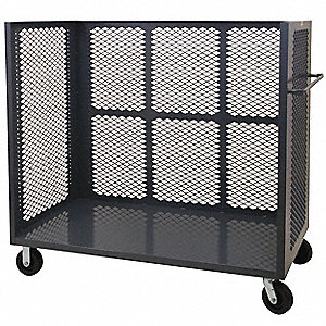 Stock Cart With 3-Sides,36 In. L,Steel