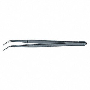 Tweezers, DowelPin, Bent, Serrated, 6 In, Blk