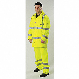 "Unisex Hi-Visibility Yellow GORE-TEX® Rain Jacket, Size S, Fits Chest Size 34"" to 36"", 35-1/2 "" Jack"