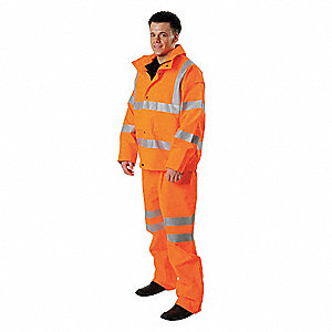 "Unisex Hi-Visibility Orange GORE-TEX® Rain Jacket, Size 2XL, Fits Chest Size 52"" to 54"", 35-1/2"" Jac"