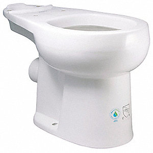 Toilet Bowl, Floor with Back Outlet Mounting Style, Round, 1.28 Gallons per Flush