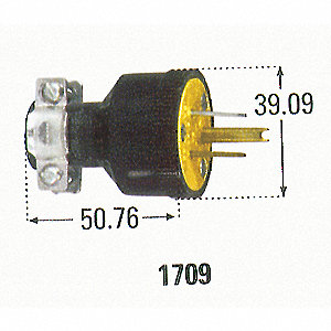 PLUG GROUNDED MALE RUBBER 15A 125V