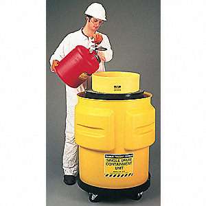 Eagle 1612 31 X 33 Yellow Polyethylene 1-Drum Spill Control Containment Unit With 65 Gallon Spill Capacity Without Drain 1//EA