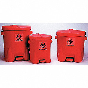 CAN BIO-HAZ WASTE 6 GAL HDPE W/FOOT