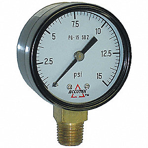 GAUGE STEM MOUNT DRY 2 D 0 - 15 PSI