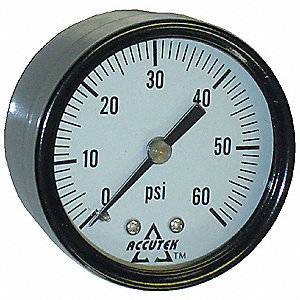 GAUGE CENTRE BACK MOUNT 0 - 60 PSI