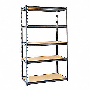 "48"" x 24"" x 84"" Steel Boltless Shelving Starter Unit, Gray&#x3b; Number of Shelves: 5"