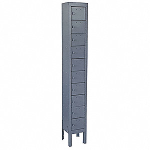 Gray Cell Phone Locker, (1) Wide, (10) Tier, Openings: 10, Lock: Padlock Hasp