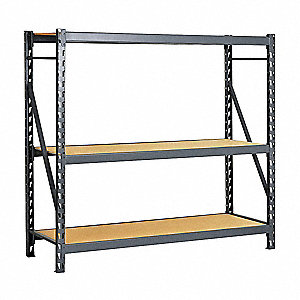 "Starter Bulk Storage Rack with Particle Board Decking and 3 Shelves, 60""W x 24""D x 72""H"