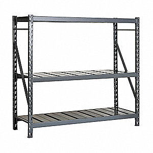 "Starter Bulk Storage Rack with Ribbed Steel Decking and 3 Shelves, 48""W x 36""D x 96""H"