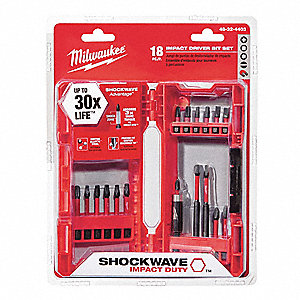 Driver Bit Set,18 Pc,1/4 In Shank