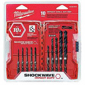 Drill Bit Set,10 Pc,1/4 In Shank