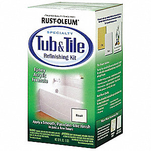 Biscuit Tub and Tile Refreshing Kit, Gloss Finish, 140 to 220 sq. ft/gal. Coverage, Size: 1 qt.