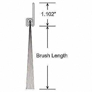 "1-1/2"" Brush Weatherseal with 1-1/8"" Straight Holder, 14 ft. Overall Length"